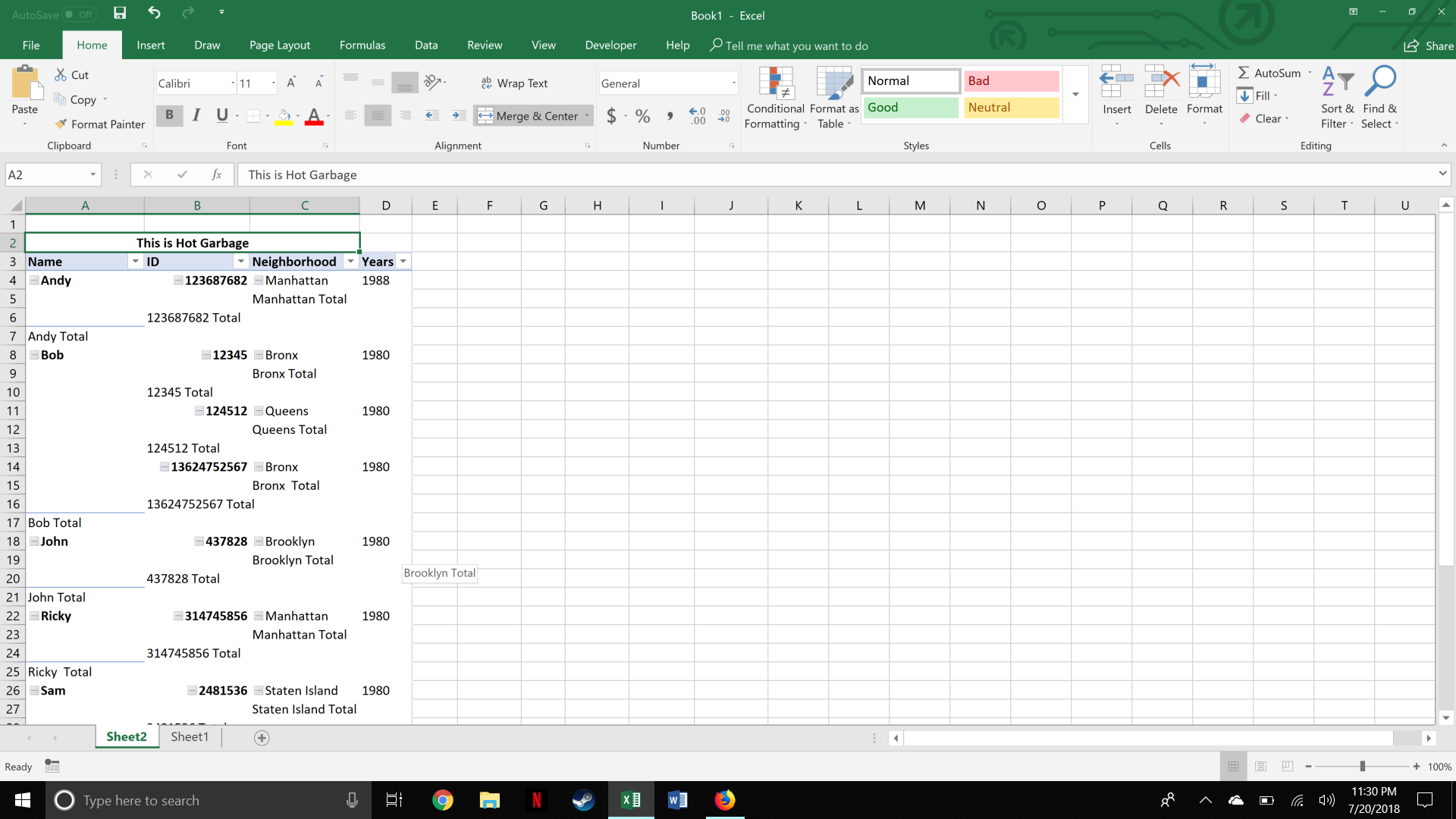 Tabular format layout